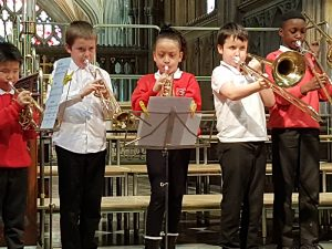 Blended brass playing one of Dylan's super compositions – Peas and Rhinos 2018