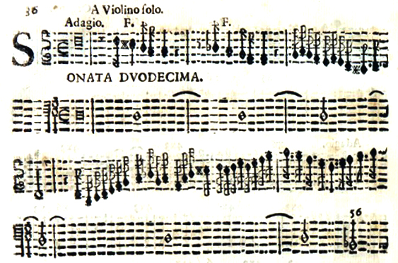 The beginning of the Sonata Duodecima from the 1693 first edition