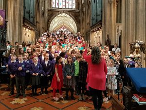 Preludes schools rehearsing at St Mary Redcliffe before performing in the afternoon to a full house 2018
