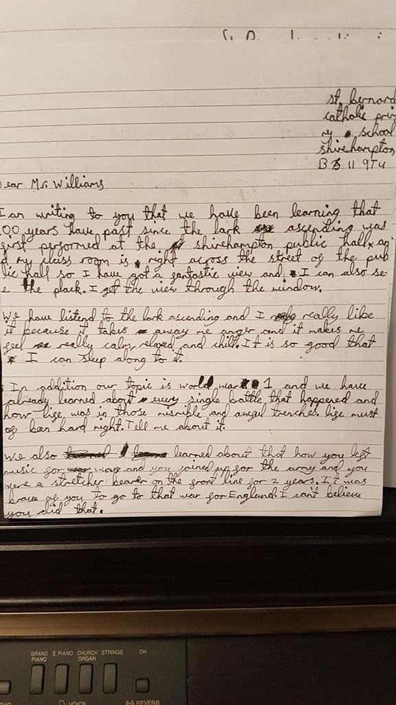 A letter to Vaughan Williams